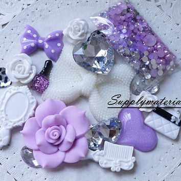 1set Fashion crystal white Bowknot resin flowers material kit for deco phone case accessories