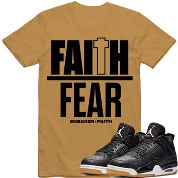 FAITH OVER FEAR Sneaker Tees Shirt - Jordan Retro 4 Black Laser Gum