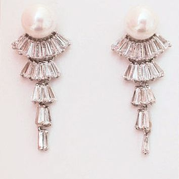 Crystal Bridal Earrings ENVY Cubic Zirconia Pearl Art Deco Bridal Jewelry 925 Silver