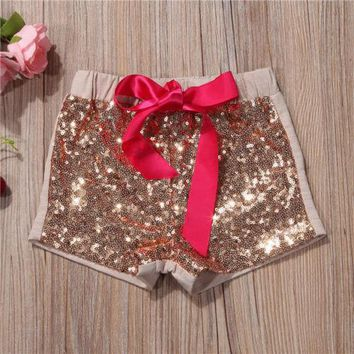 Hot Shorts Toddler Infant Baby Kids Children Girl Bowknot Sparkle Sequin  Pants Summer Clothes  Black Red Apricot 1-5TAT_43_3