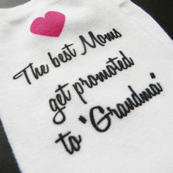 Grandma Gift Socks, Custom Personalized Mother's Day Anklet Socks for Grandmother, Set of 3 white cotton anklet socks