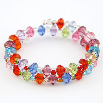 Colorful Shiny Gemstone and Crystal Elastic Bracelet,Young Girls' Favorite Jewelry, Women's Fashion Bracelet, Birthday Gifts 110102129