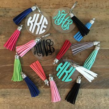 "2.5"" Monogrammed Acrylic Key Ring with Tassel"