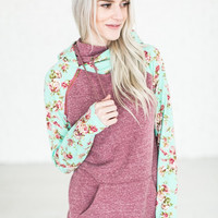 Double Hooded Sweatshirt - Berry Floral