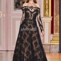 2014 New Style Black Long Sleeve Off Shoulder Lace Zuhair Murad Evening Dress