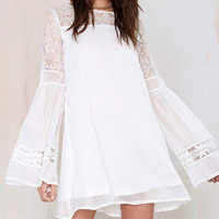 White Lace Trumpet-Sleeve Chiffon Dress