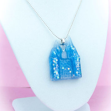 "Kawaii Fairy Kei Pastel Goth Sweet Lolita Adjustable Resin Blue Castle of Stars 18"" Necklace"