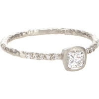 Diamond & Textured Platinum Ring