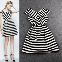 Black V-Neck  Striped Cap Sleeve Waist A-Line Mini Dress
