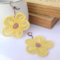 Yellow flower earrings, romanian point lace earrings, crochet dangle, sewed earrings, handmade