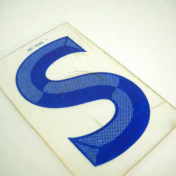 Vintage Marquee Letter Sign Blue S Industrial Typography Salvaged Parts