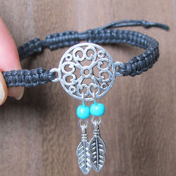 Antique Silver Dream Catcher Bracelet ,  Feather Bracelet ,  Beads Bracelet ,Native American Jewelry