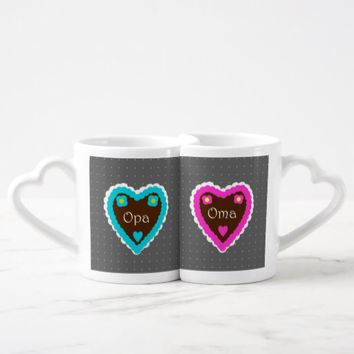 Oma and Opa Gingerbread Hearts & Polka Dots Coffee Mug Set
