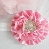 Ready To Ship New Newborn Baby Headband Pink White Satin Flower Accessory