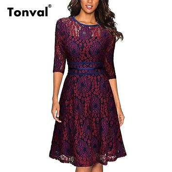 Tonval Floral Lace Red Dress Casual Women Elegant Summer Dress Robe Femme Vintage Party Sexy Swing Dresses