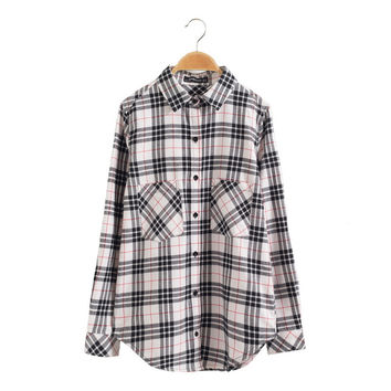 Women gingham shirting vintage plaid shirts pockets blouses long sleeve loose cozy shirts turn-down collar casual tops LT643