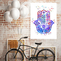 Hamsa Hand Watercolor Art Print Protective Hand, Wall Art Poster, Grunge Art, Boho Art, Home decor watercolor, vertical painting