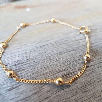 Vintage Gold Chain Bracelet , 9ct Real Solid Yellow Gold , Fancy Gold Ball Chain , Gifts For Her