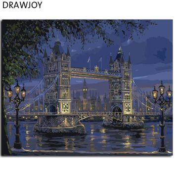 DRAWJOY Framed London Bridge Landscape Painting By Numbers DIY Oil Painting Home Decor For Living Room GX7846 40*50cm Wall Art