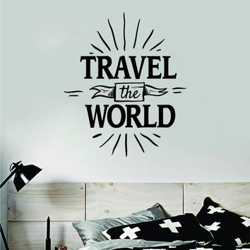 Travel the World V5 Wall Decal Sticker Bedroom Living Room Art Vinyl Beautiful Inspirational Adventure Mountains Wanderlust Explore Teen Kids Baby Nursery
