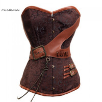 Charmian Plus Size Steampunk Corset Brown Brocade Mini Buckles Overbust Corsets with Chains Corselet Espartilhos for Women