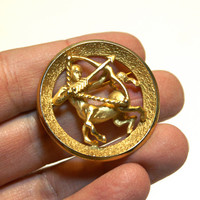 What's Your Sign?... Sagittarius Brooch, Gold Tone Zodiac Circle Pin by Crown Trifari