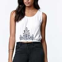 LA Hearts Bubble Hem Cropped Tank Top - Womens Shirts - White