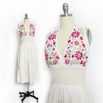 Vintage 1970s Mexican Embroidered Dress - Ivory Gauze Cotton Floral Halter Crochet Boho - Small / XS