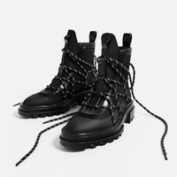 LACE-UP RUBBERISED ANKLE BOOTSDETAILS