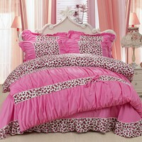 YADIDI 100% Cotton Classic Princess Polka Dot Girls Bedding Sets Bedroom Bed Sheet Duvet Cover Pillowcase Twin Queen King size