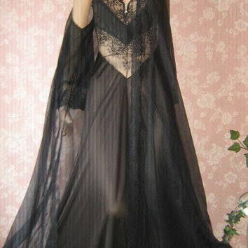 Vintage 70s Nightgown Peignoir Set sheer chiffon Long Lace Inset XS S Small Full Sweep strappy pandora