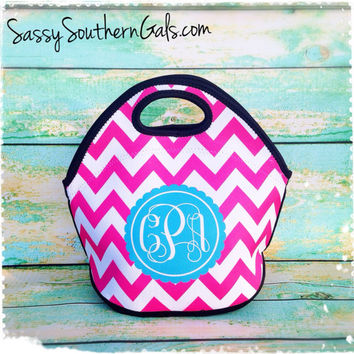 Monogrammed Lunch Tote , Personalized Lunch Tote, Monogrammed Lunchbox, Design Your Own Lunch Tote, Mongrammed Gift