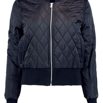 Lois Quilted Satin Finish Bomber | Boohoo