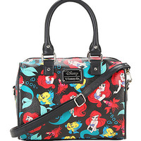 Loungefly Disney The Little Mermaid Toss Character Black Barrel Bag