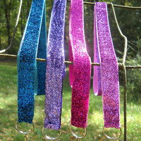 Sparkling, Metallic Lanyard Key Chains in Blue, Purple, Hot Pink, Pink, Navy, Lime Green, Gold, Red, and Silver
