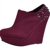 Studded Wedge Shoe Boots from TheFashionBank