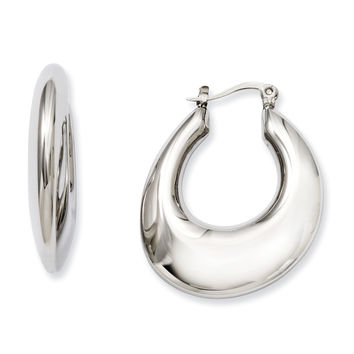 Stainless Steel Hollow Teardrop Hoop Earrings SRE506