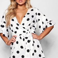 Ivy Ruffle Sleeve Polka Dot Playsuit | Boohoo