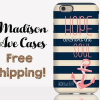 Hope Anchors The Soul Christian Hebrews 6:19 Custom Jesus Quote Pink Nautical Note Samsung Edge S5 S6 S7 iPhone 5s 4 6 Plus Tough Phone Case