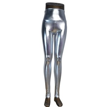 Elyria High Waist Faux Leather Metallic Stretchy Leggings