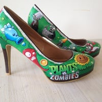 Plants vs Zombies Game Theme Custom Order - Decoupage Shoes