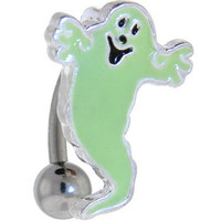 Glow in the Dark TOP DANGLE GHOST Belly Ring | Body Candy Body Jewelry