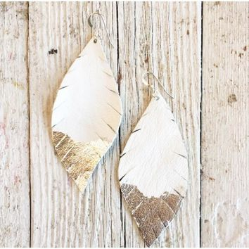 Three Little Indians Earrings - Large Ivory | Silver Leaf