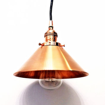 "Copper pendant light lamp steampunk industrial 8"" cone shade vintage antique Edison bulb rustic hanging ceiling mount canopy wall swag lamp"