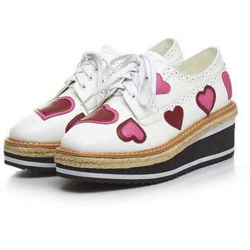 Pink Heart Print Oxfords