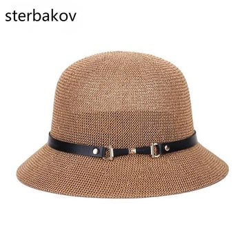sterbakov The summer sun boater panama hat with Wide Brim hat style for Women, Straw, straw hats and UV Protection