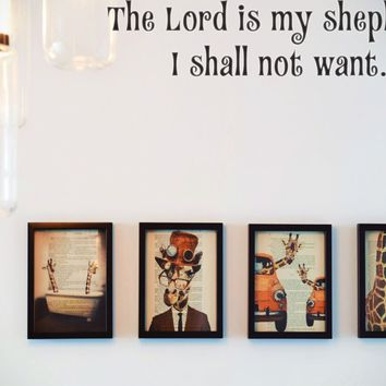 The Lord is my shepherd, I shall not want. Style 15 Vinyl Decal Sticker Removable