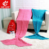 super big bedding sofa tv knitted christmas birthday adult 95x195cm kids 70x140cm gift crochet mermaid tail throw blanket
