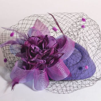 Fashion Lady Fascinator Feather Flower Purple Veil Hat Hair Clip Millinery Burlesque Wedding Party Women Hair Accessories