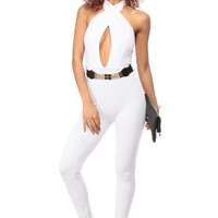 White Halter Neck Belted Body Con Jumpsuit